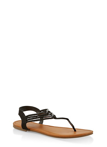 Braided Strap Thong Sandals,BLACK,large