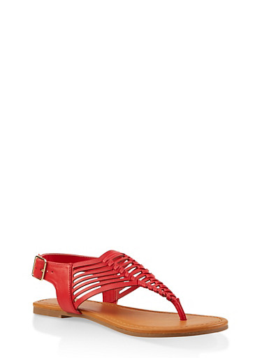 Woven Thong Sandals,RED,large