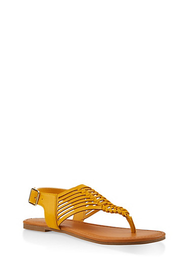 Woven Thong Sandals,MUSTARD,large