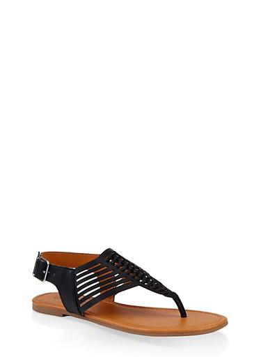 Woven Laser Cut Thong Sandals,BLACK,large