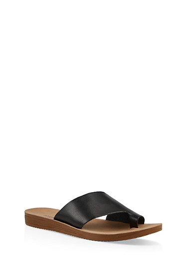 Asymmetrical Band Toe Ring Slide Sandals,BLACK,large