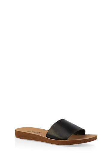 Single Band Slide Sandals,BLACK,large