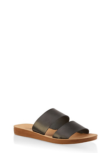 Double Band Slide Sandals,BLACK,large