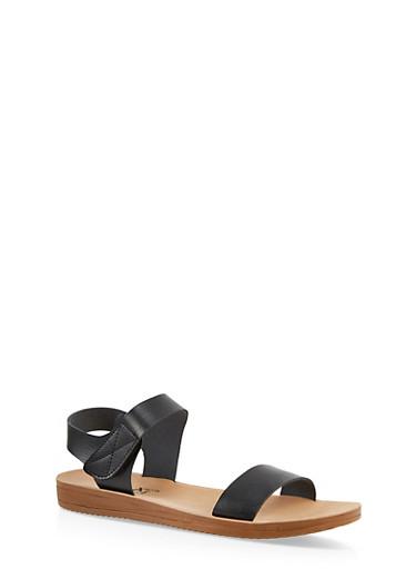 Velcro Ankle Strap Sandals,BLACK,large