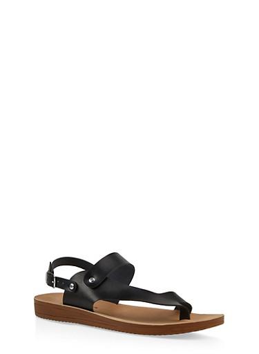 Asymmetrical Ankle Strap Sandal,BLACK,large