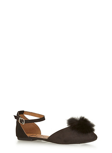 Faux Suede Mary Jane Flats with Pom Pom Detail,BLACK,large