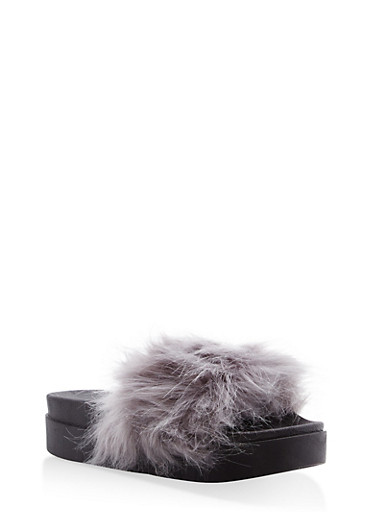 Faux Fur Platform Slides,GRAY,large