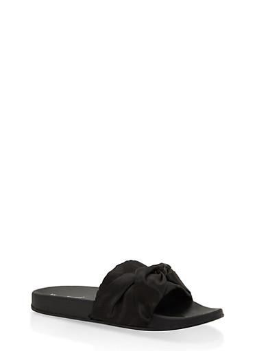 Satin Bow Slides,BLACK,large