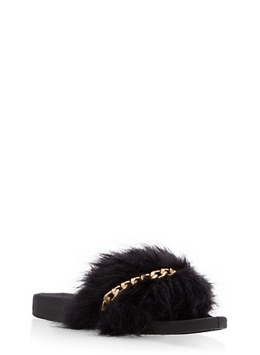 Faux Fur Chain Detail Slides,BLACK,large