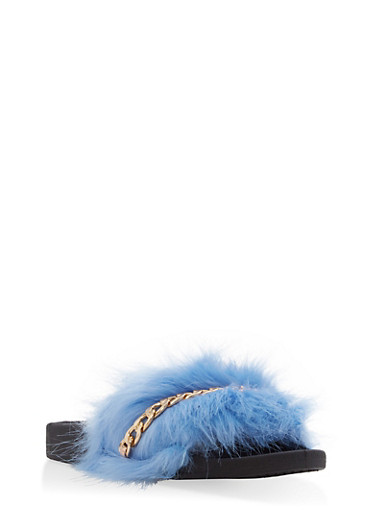 Faux Fur Chain Detail Slides | Tuggl