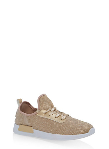 Mesh Knit Lace Up Athletic Sneakers,GOLD,large