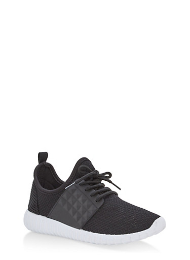 Textured Knit Lace Up Sneakers,BLACK,large