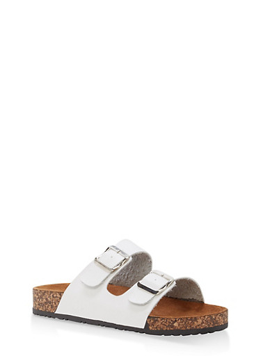 Double Buckle Footbed Slide Sandals,WHITE PU,large