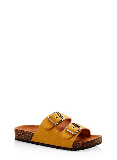 Metallic Double Buckle Footbed Sandals,MUSTARD,large