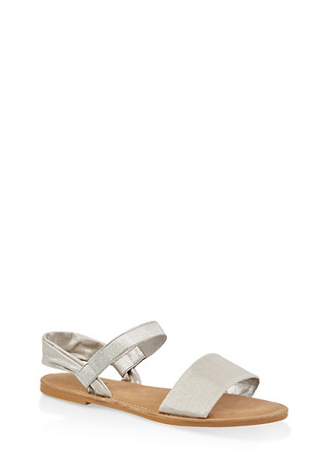 Elastic Ankle Strap Sandals,SILVER,large