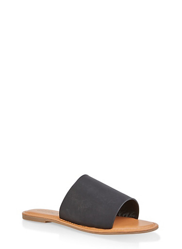 Wide Band Slide Sandals | 1112073541006,BLACK,large