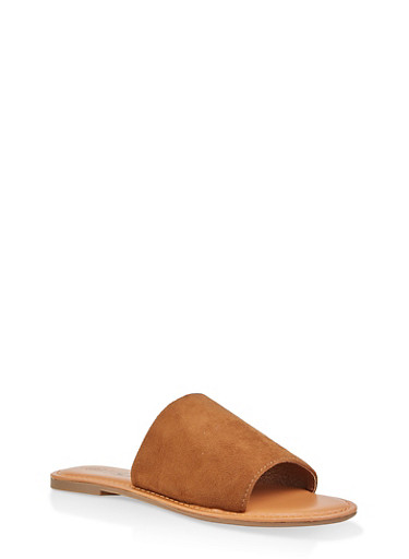 One Band Slide Sandals,TAN,large