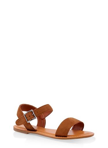 Single Buckle Sandals,TAN,large