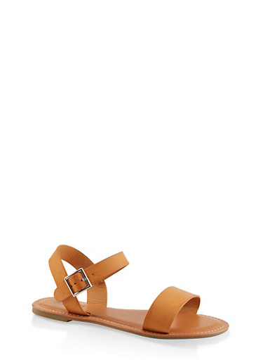 Ankle Strap Buckle Sandals,TAN,large