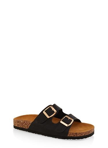 Two Buckle Footbed Slide Sandals,BLACK,large