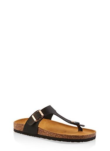 Buckle Thong Cork Footbed Sandals,BLACK,large