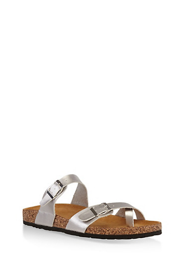 Double Strap Footbed Sandals,SILVER,large