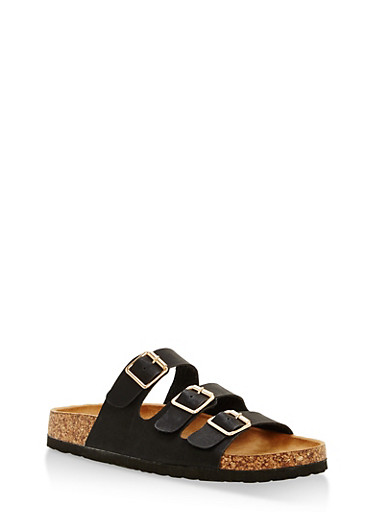 Three Strap Footbed Sandals,BLACK,large