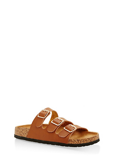 Three Strap Footbed Sandals | Tuggl