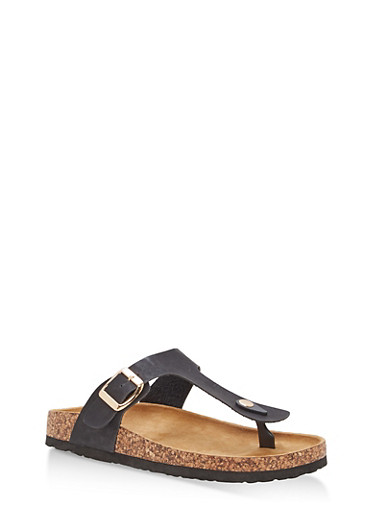 Thong Footbed Sandals,BLACK,large