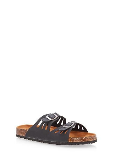 Double Strap Footbed Sandals,BLACK,large