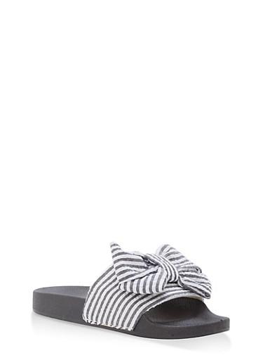 Striped Bow Slides,BLACK,large