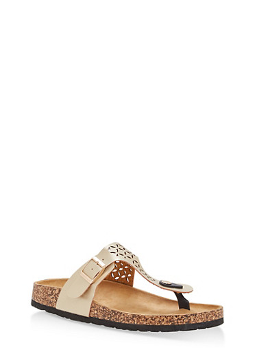 Cutout Thong Footbed Sandals | Tuggl