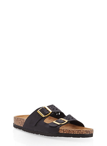 Cut Out Double Strap Footbed Slide Sandals,BLACK,large