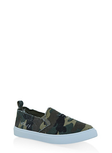Distressed Camo Slip On Sneakers,CAMOUFLAGE,large