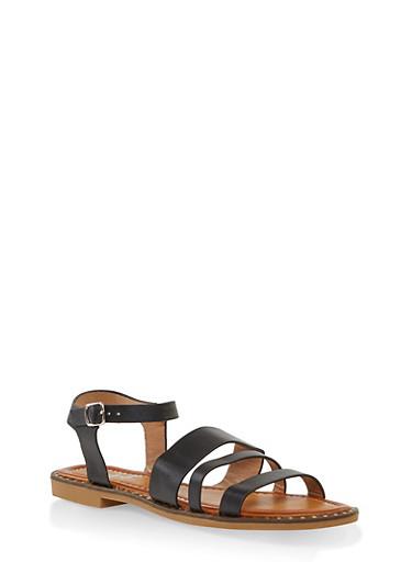 Studded Sole Ankle Strap Sandals,BLACK,large