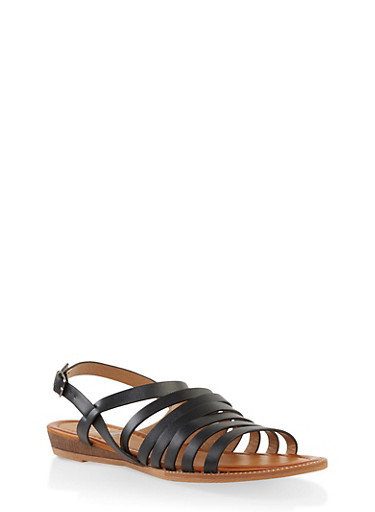 Multi Strap Sandals,BLACK,large