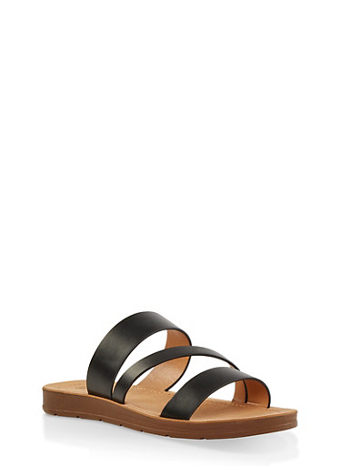 Triple Strap Slide Sandals,BLACK,large