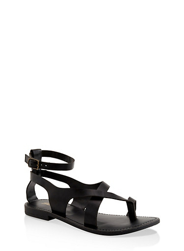 Asymmetrical Toe Ring Ankle Strap Sandals,BLACK,large