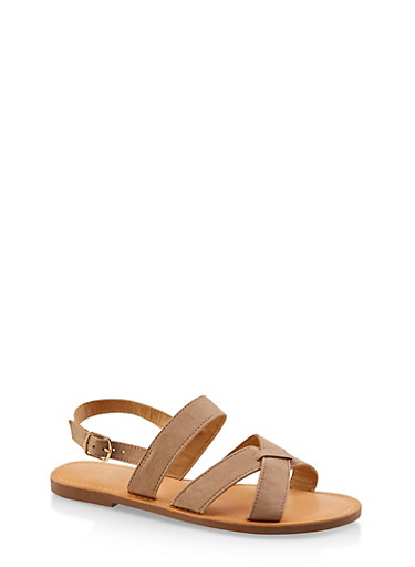 Criss Cross Buckle Strap Sandals,OATMEAL,large