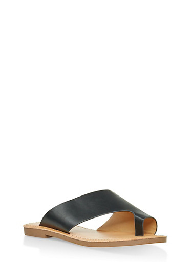 Asymmetrical Toe Ring Slide Sandals | 1112074967574,BLACK,large