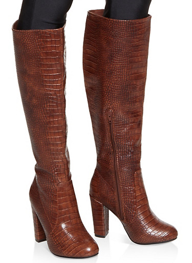 Knee High Block Heel Boots,BROWN,large