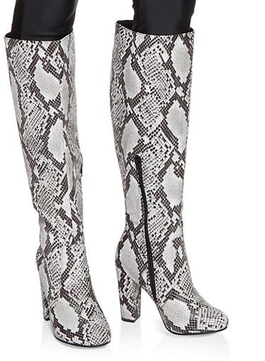 Knee High Block Heel Boots,BLACK SKIN PRINT,large