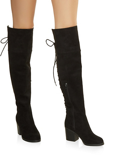 Over the Knee Lace Up Back Boots,BLACK SUEDE,large