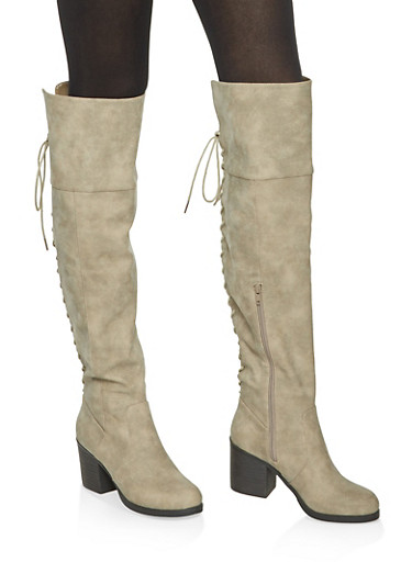 Over the Knee Lace Up Back Boots,TAUPE,large