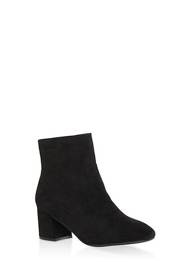 Side Zip Block Heel Booties,BLACK SUEDE,large