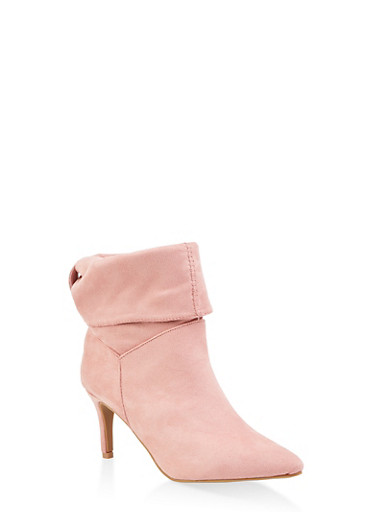Tabbed Fold Over Pointed Toe Booties,MAUVE,large