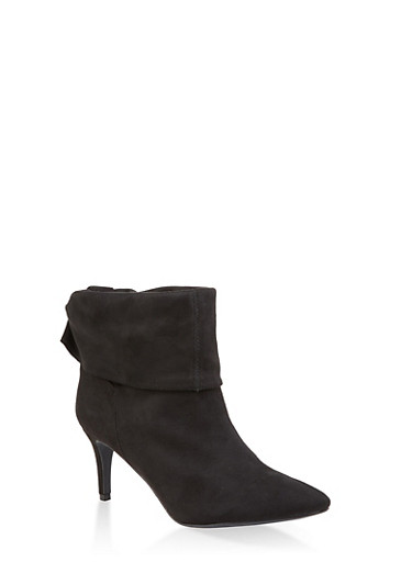 Tabbed Fold Over Pointed Toe Booties,BLACK SUEDE,large