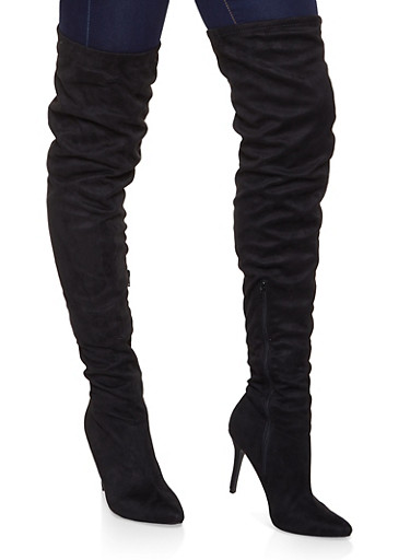 High Heel Over the Knee Boots,BLACK SUEDE,large