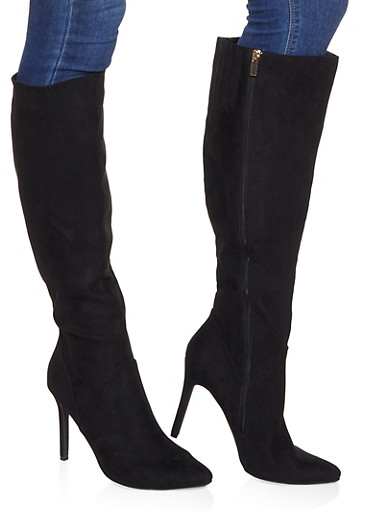 Tall Pointed Toe High Heel Boots,BLACK SUEDE,large