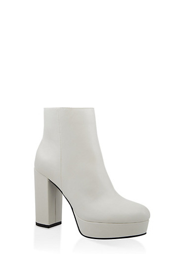 Block Heel Platform Booties,WHITE,large